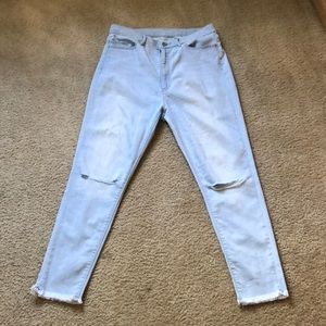 Uniqlo High Waist Distressed Jeans.